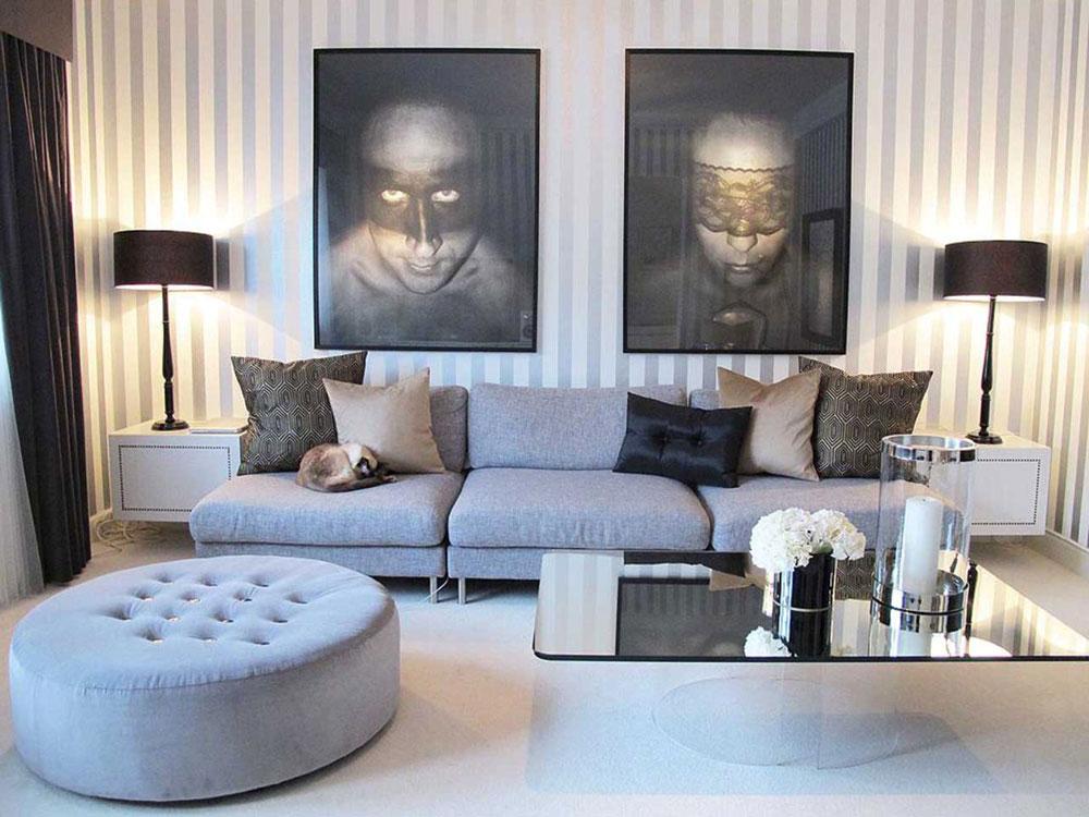 Vackert vardagsrum med randiga väggar-12 Vackert vardagsrum med randiga väggar