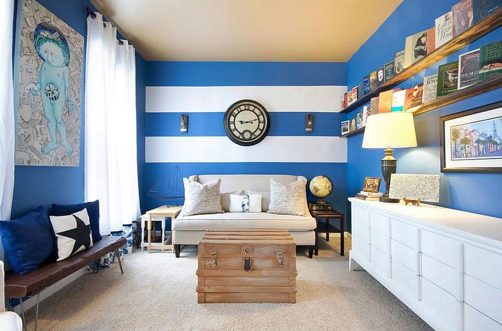 Vackert vardagsrum med randiga väggar-2 Vackert vardagsrum med randiga väggar