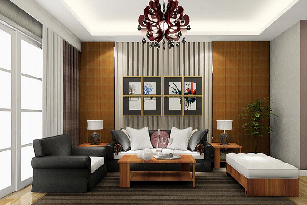 Vackert vardagsrum med randiga väggar-1 Vackert vardagsrum med randiga väggar