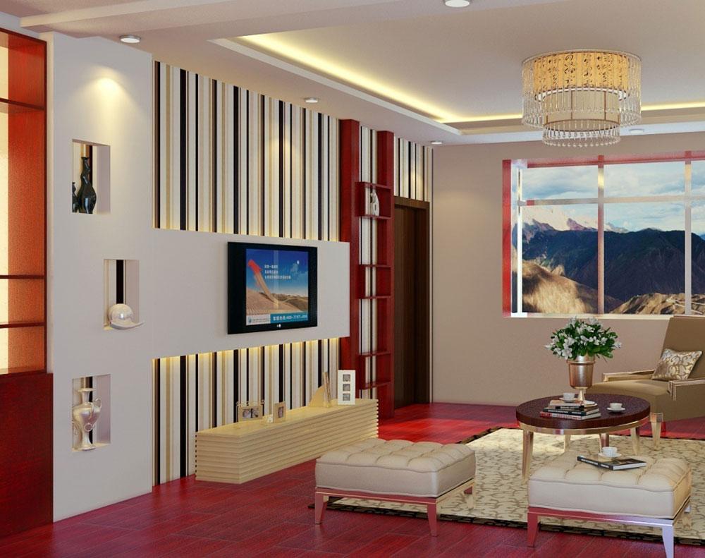 Vackert vardagsrum med randiga väggar-4 Vackert vardagsrum med randiga väggar