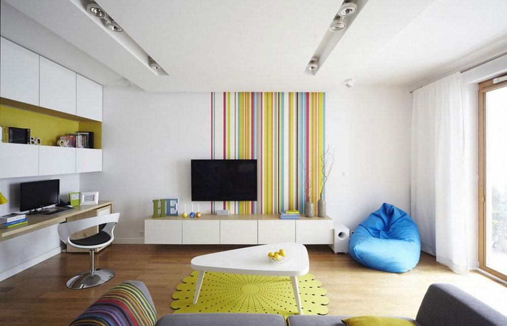 Vackert vardagsrum med randiga väggar-11 Vackert vardagsrum med randiga väggar