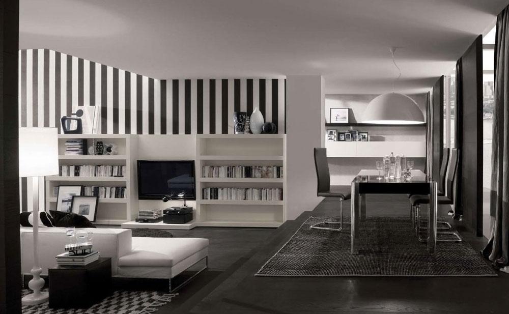 Vackert vardagsrum med randiga väggar-6 Vackert vardagsrum med randiga väggar