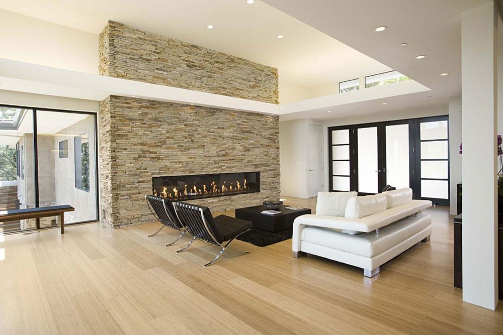 Modernt vardagsrum bambu golv fördelar och nackdelar