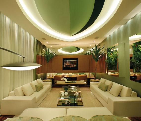 g15 Gröna vardagsrumsdesignidéer: dekorationer och möbler