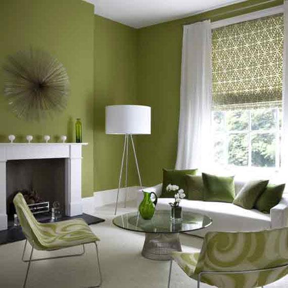 g5 Gröna vardagsrumsdesignidéer: dekorationer och möbler