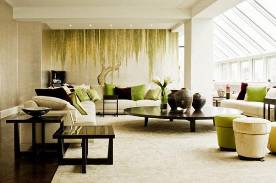 g10 Gröna vardagsrumsdesignidéer: dekorationer och möbler
