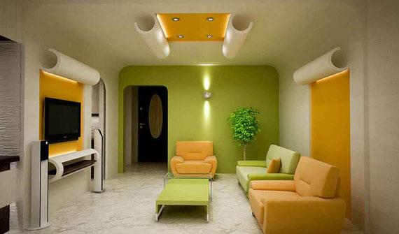 g7 Gröna vardagsrumsdesignidéer: dekorationer och möbler