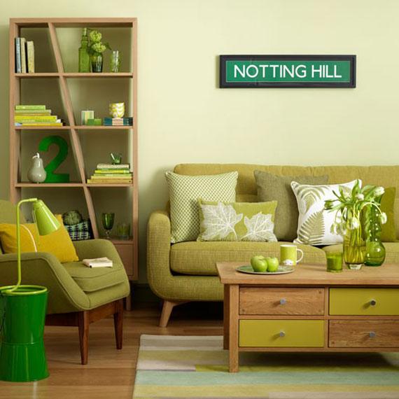 g19 Gröna vardagsrumsdesignidéer: dekorationer och möbler