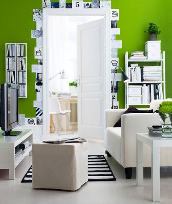 g23 Gröna vardagsrumsdesignidéer: dekorationer och möbler