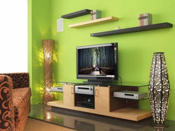 g9 Gröna vardagsrumsdesignidéer: dekorationer och möbler