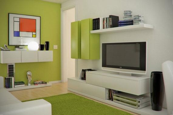 g2 Gröna vardagsrumsdesignidéer: dekorationer och möbler