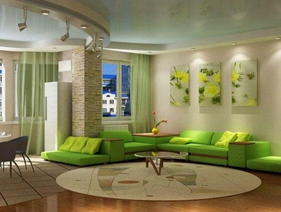 g3 Gröna vardagsrumsdesignidéer: dekorationer och möbler