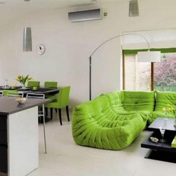 g16 Gröna vardagsrumsdesignidéer: dekorationer och möbler