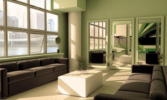 g22 Gröna vardagsrumsdesignidéer: dekorationer och möbler