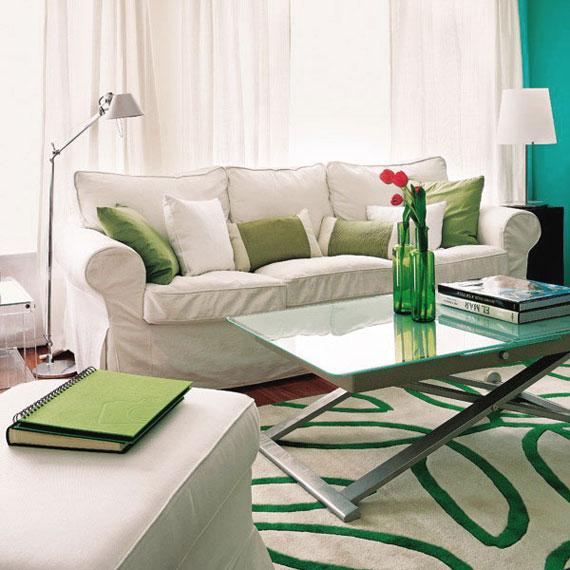 g14 Gröna vardagsrumsdesignidéer: dekorationer och möbler
