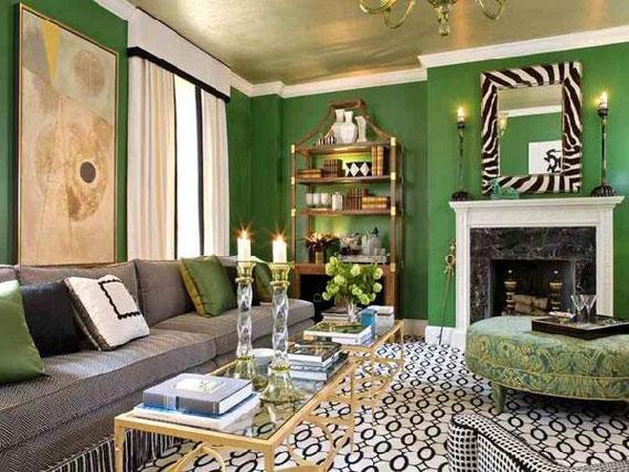 g11 Gröna vardagsrumsdesignidéer: dekorationer och möbler