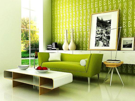 g17 Gröna vardagsrumsdesignidéer: dekorationer och möbler