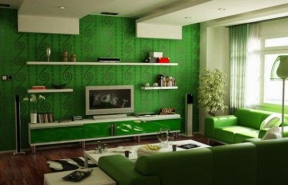 g24 Gröna vardagsrumsdesignidéer: dekorationer och möbler