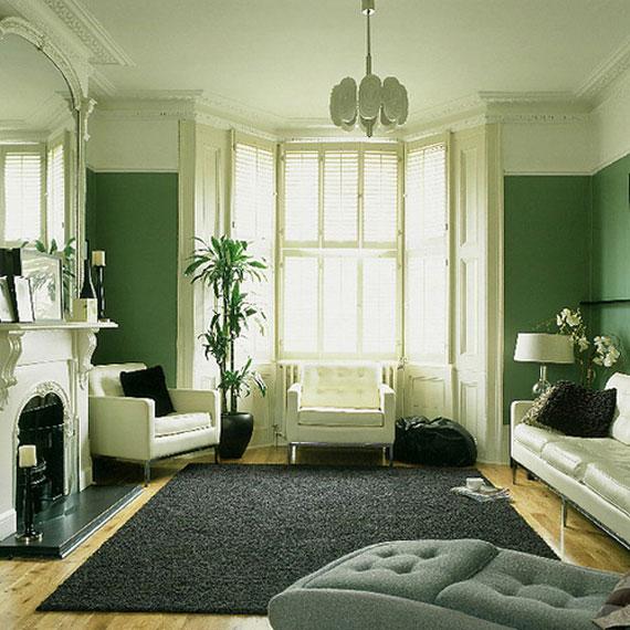 g26 Gröna vardagsrumsdesignidéer: dekorationer och möbler