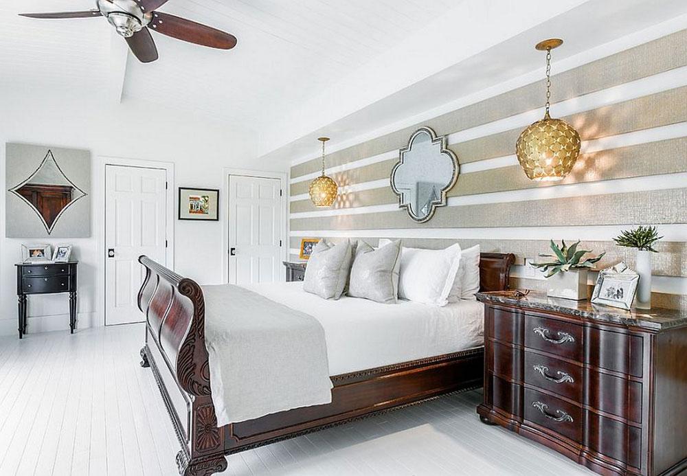 Det inte alls extravaganta sovrummet med randiga väggar-2 Det alls inte extravaganta sovrummet med randiga väggar
