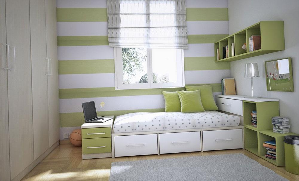 Det inte alls extravaganta sovrummet med randiga väggar-10 Det alls inte extravaganta sovrummet med randiga väggar