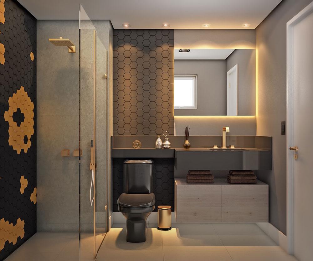 Grå-guld-svart-modern-badrum-design Hur man väljer rätt toalett för ditt hem