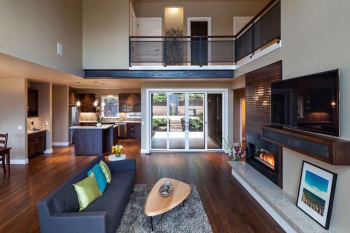82285406337 Hus med natursten och trä exteriör och en avancerad interiör