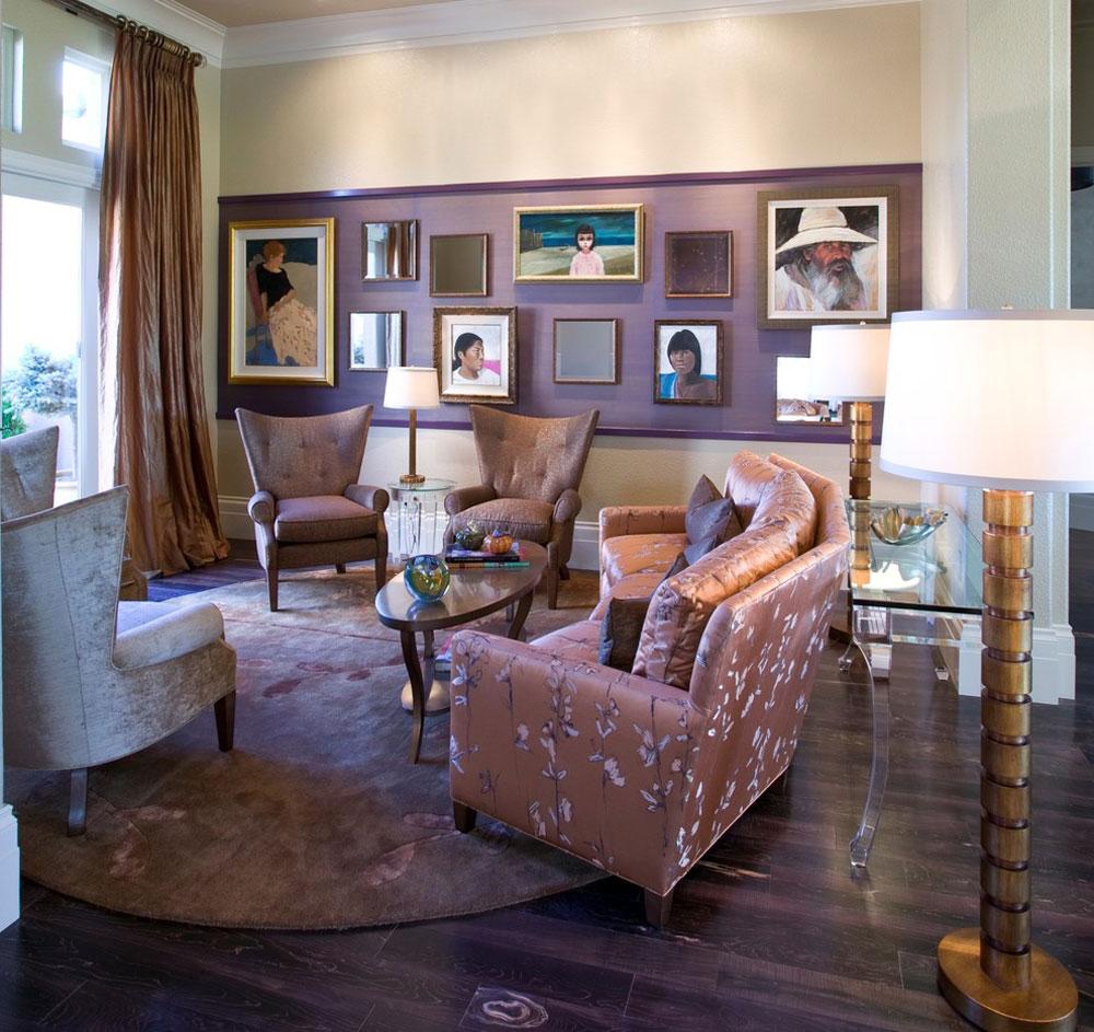 Hollywood-Regency-Living Room-by-Peg-Berens-Interior-Design-LLC Färgen på lavendel och färgerna som passar till lavendel
