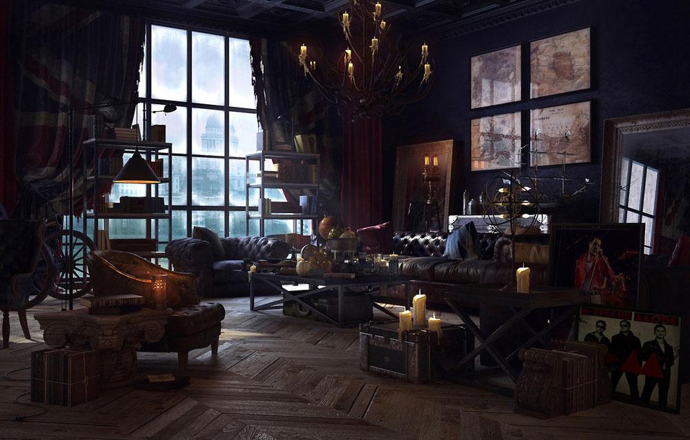 Steampunk-interiör-design-stil-och-dekoration-idéer-9 Steampunk interiör design-stil och dekoration-idéer