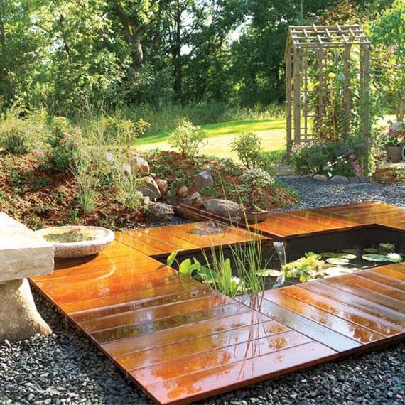 w27 Bakgårdsdammar och idéer för vattenträdgård - 31 exempel