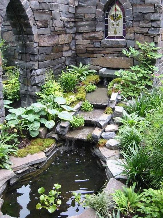 w18 Bakgårdsdammar och idéer för vattenträdgård - 31 exempel