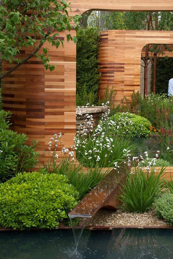 w22 Bakgårdsdammar och idéer för vattenträdgård - 31 exempel