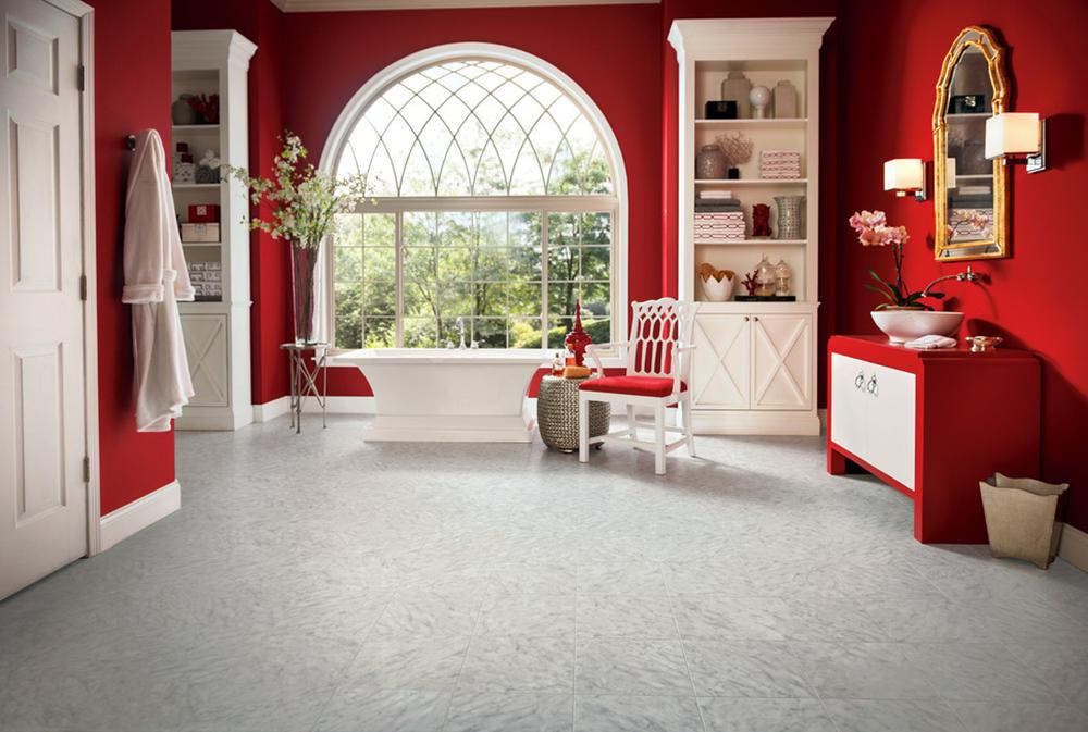 Armstrong-Engineered-Stone-by-Gales-Carpet-One-Floor-and-Home Röda badrumsidéer: Mattor, tillbehör och dekor