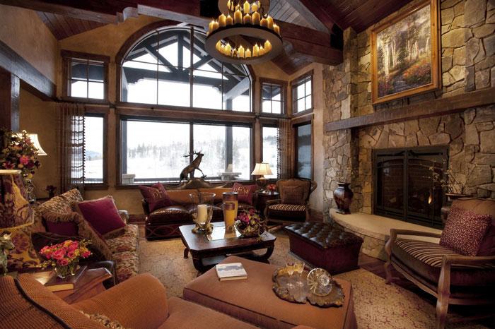 64856109528 Den vackra interiören i rustika vardagsrum