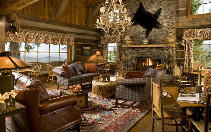 64856182766 Den vackra interiören i rustika vardagsrum