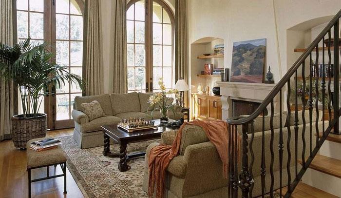 64856190376 Den vackra interiören i rustika vardagsrum