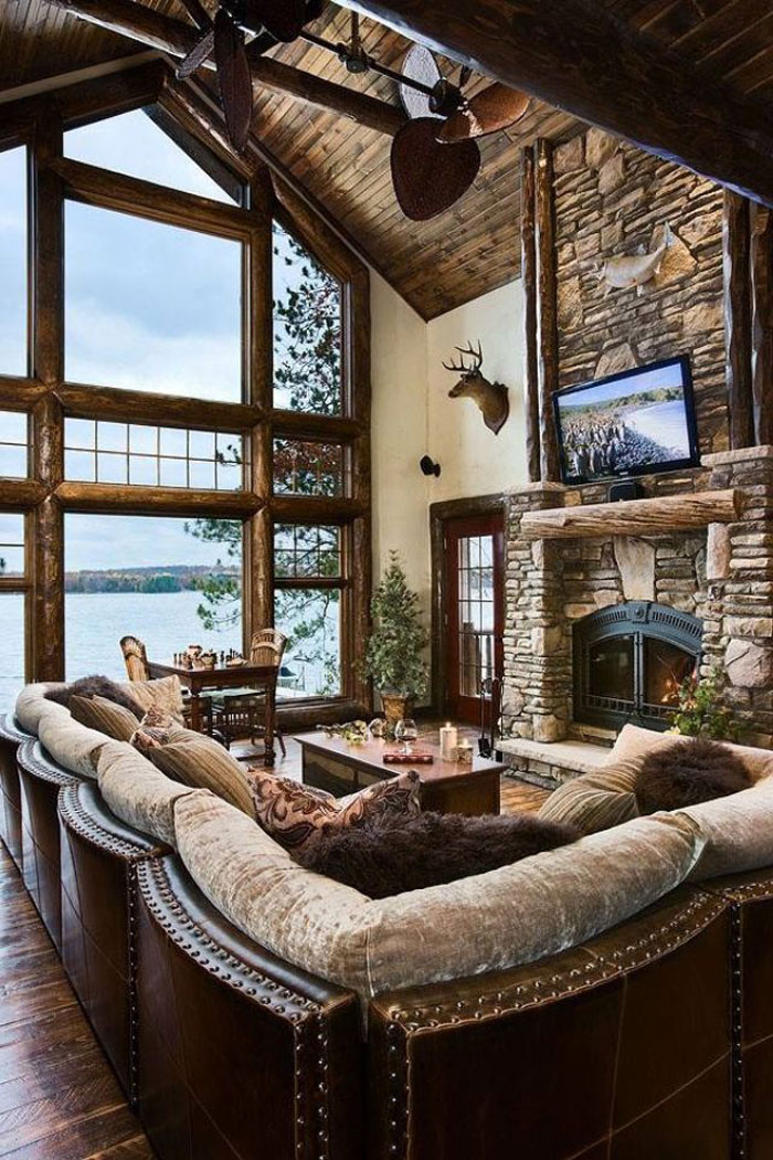 64856094149 Den vackra interiören i rustika vardagsrum