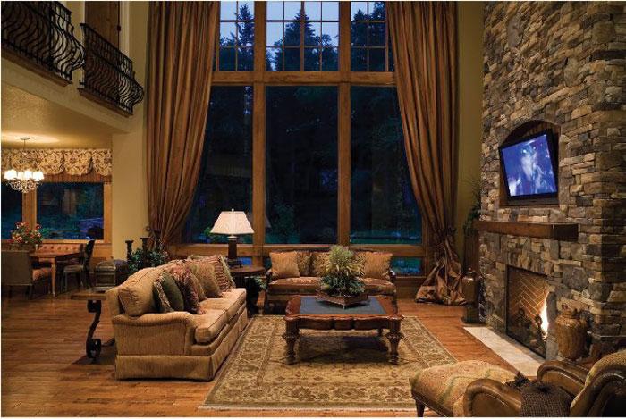 64856201985 Den vackra interiören i rustika vardagsrum