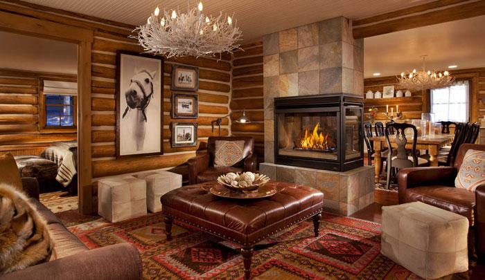 64856166717 Den vackra interiören i rustika vardagsrum