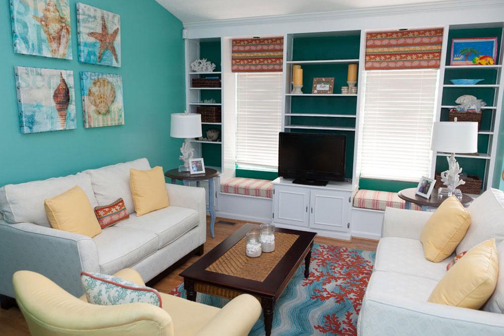Ocean-Living-Room-by-Lux-Design-Associates Coral Color: Hur man använder den för att dekorera vackra interiörer