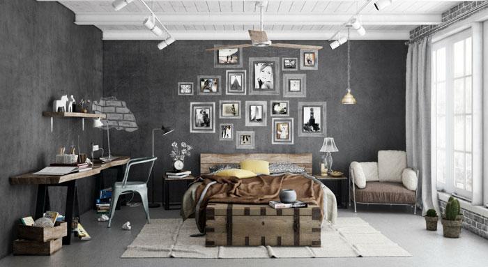 69795317185 Idéer för att dekorera ditt sovrum i industriell stil