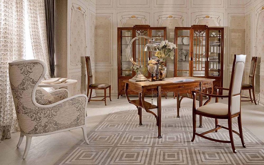 Art Nouveau vardagsrumsinredning Art Nouveau interiördesign med sin stil, inredning och färger