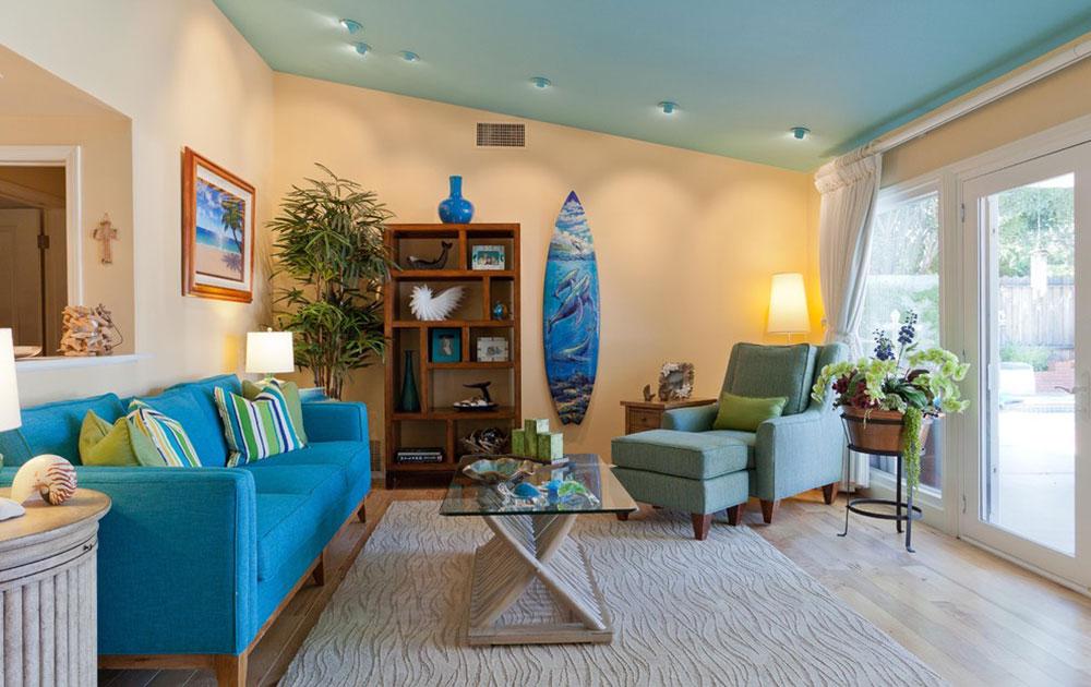 Coastal-Retreat-in-Woodland-Hills-Karen-Grace-Interiors Ljusa och levande tropiska färgscheman