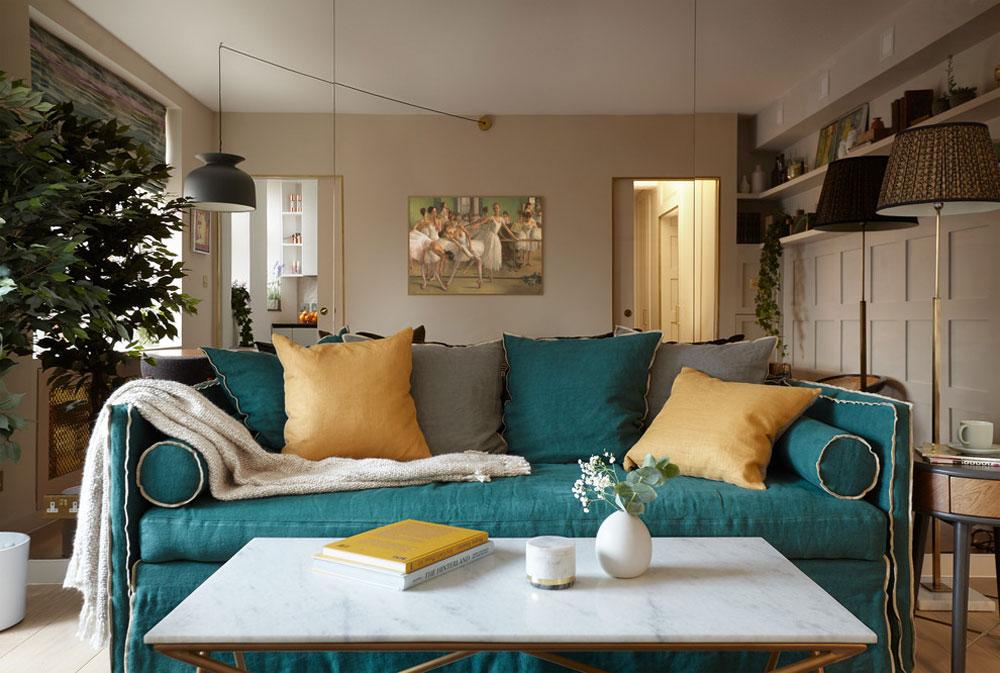 Mid-Century-Apartment-in-the-City-of-London-by-Black-and-Milk-Interior-Design-London-2 Liten lägenhet vardagsrum idéer på en budget