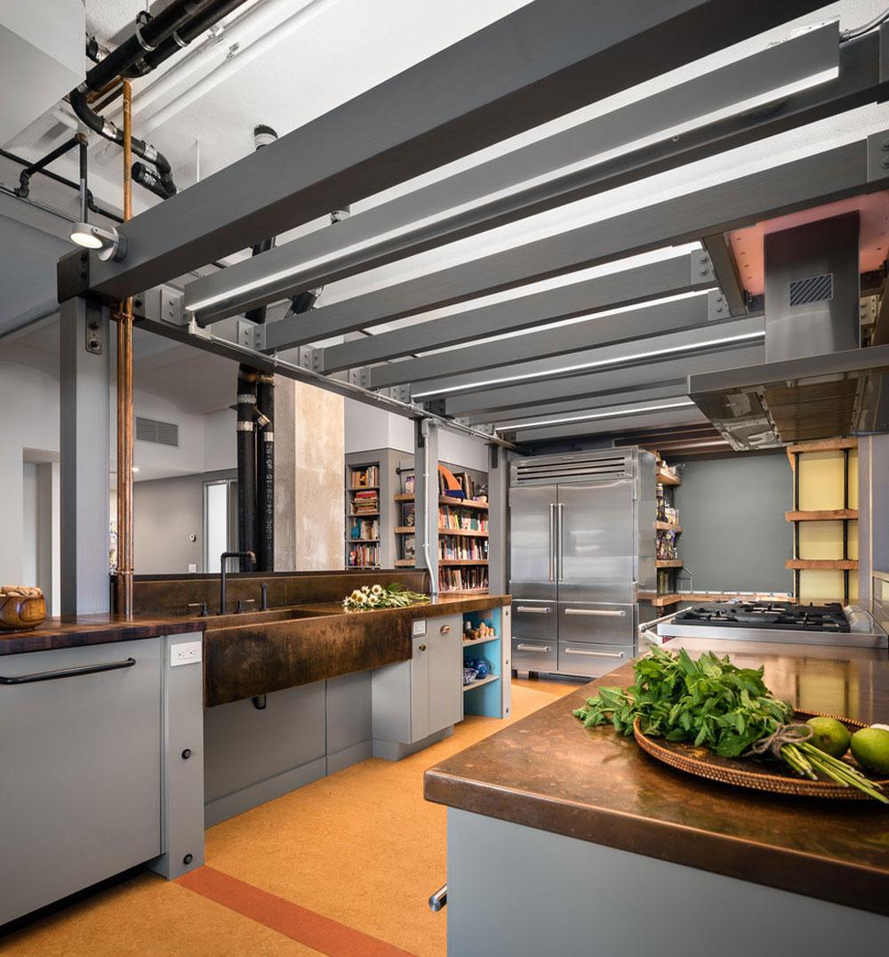 Chelsea-Loft-New-York-NY-av-TOLA-Architektur Idéer för industrikök: skåp, hyllor, stolar och belysning
