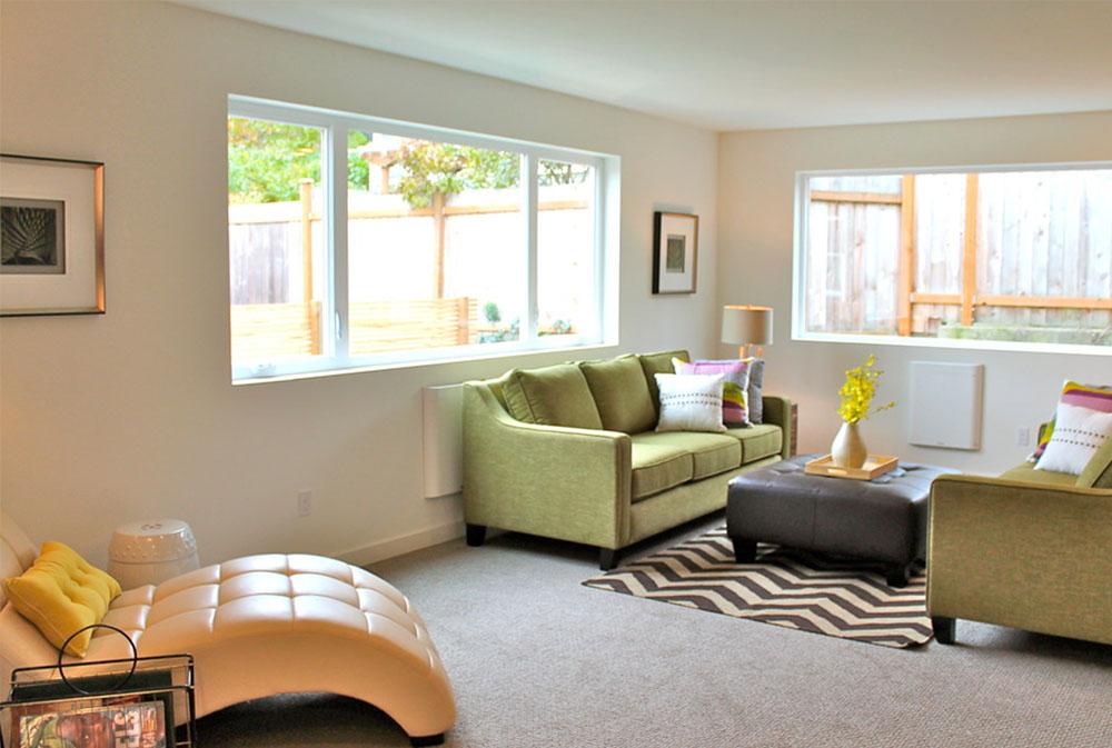 Modern-Green-Seattle-Remodel-by-Seattle-Staged-for-Sale-and-Design-LLC Gröna vardagsrumsidéer: väggar, stolar, färg