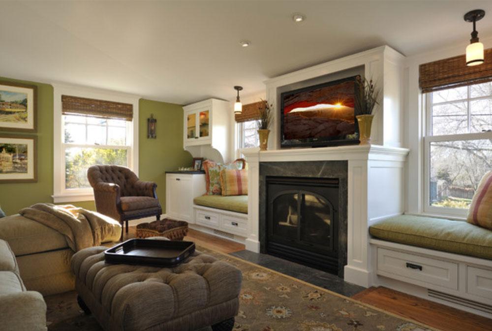 Room-by-Lake-Country-Builders-Green vardagsrumsidéer: väggar, stolar, färg