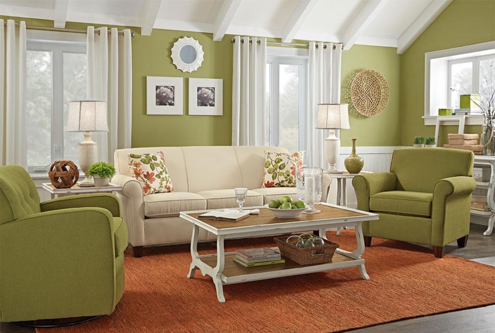 Vardagsrum-med-trächuckar-fin-möbler-inredning Gröna vardagsrumsidéer: väggar, stolar, färg