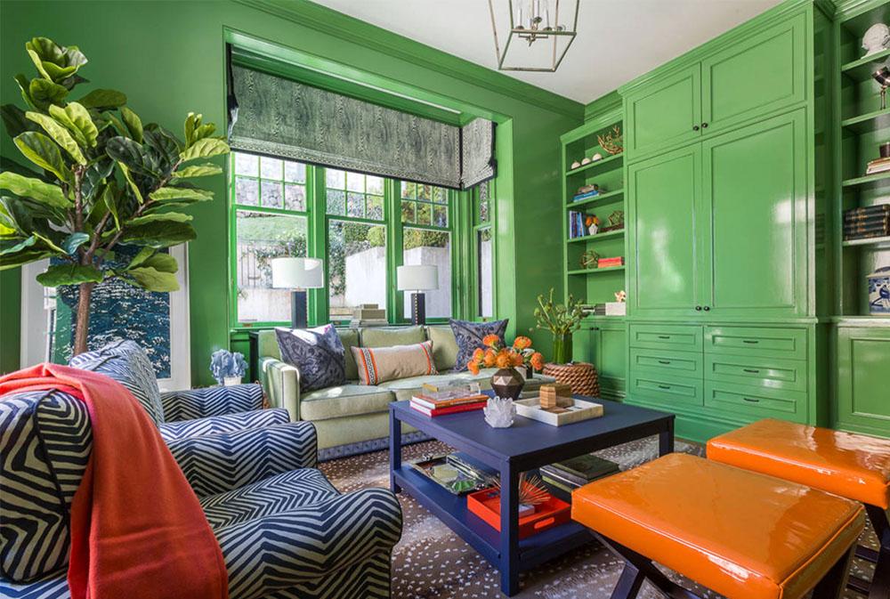 Mysigt med en pop-av-orange-av-Ann-Lowengart-Interiors Gröna vardagsrumsidéer: väggar, stolar, färg