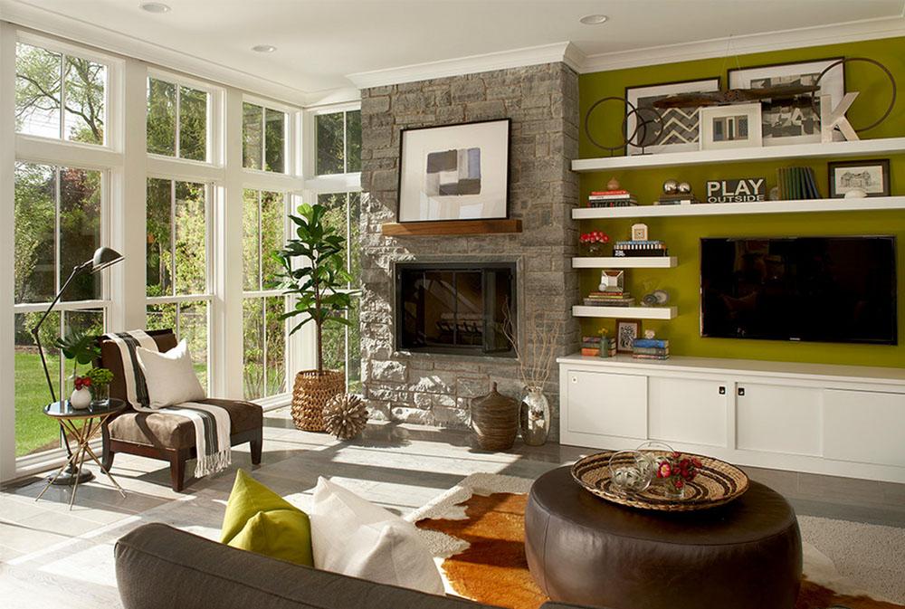 Modern bondgård-Elmhurst-IL-av-Charles-Vincent-George-Architects-Inc-Green Living Room Idéer: väggar, stolar, färg